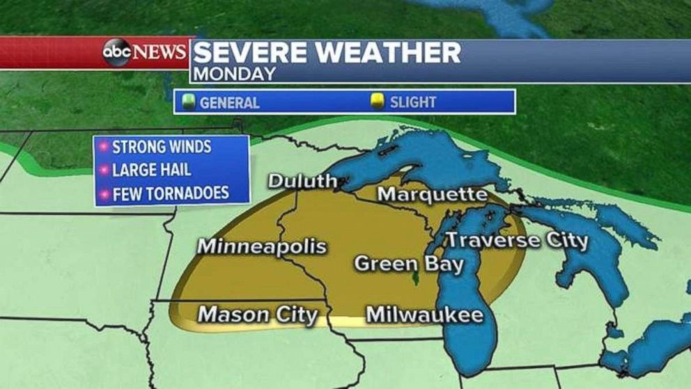 A chance for severe weather exists over much of Wisconsin and the Upper Peninsula of Michigan on Monday.