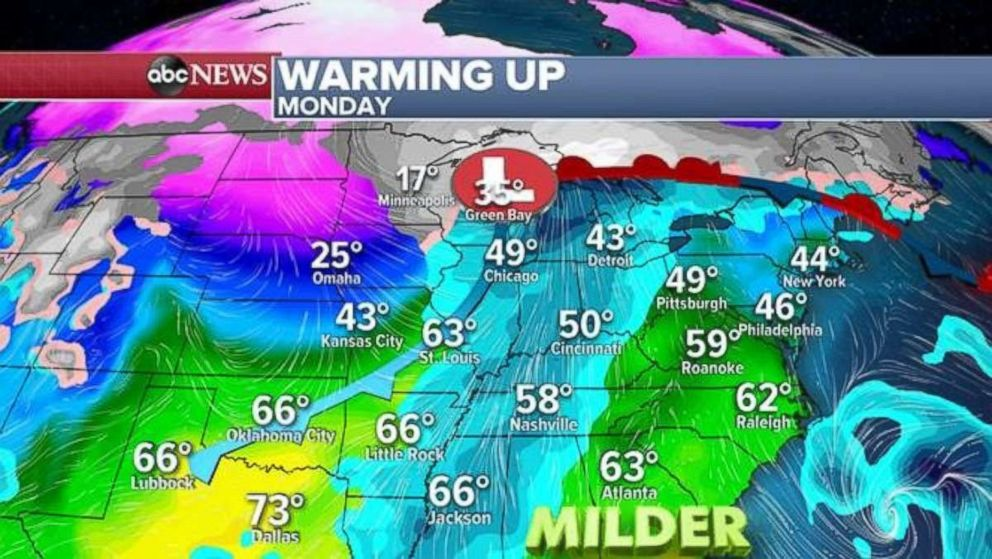 PHOTO: By Monday, temperatures will be in the 40s and 50s on the East Coast.