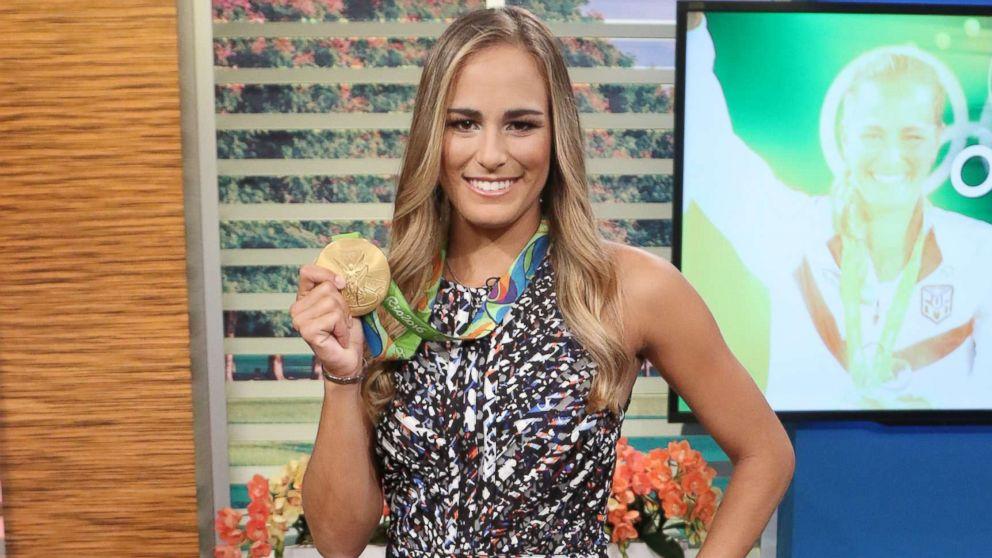 "Gold medalist Monica Puig of Puerto Rico is seen on the set of ""Un Nuevo Dia"" at Telemundo Studios, Aug. 17, 2016, in Miami, Florida."