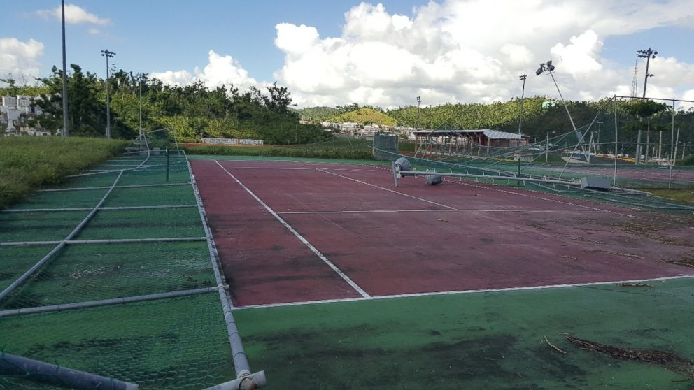 PHOTO: Miguel Lozadas damaged tennis facilities in Juncos, Puerto Rico after Hurricane Maria.