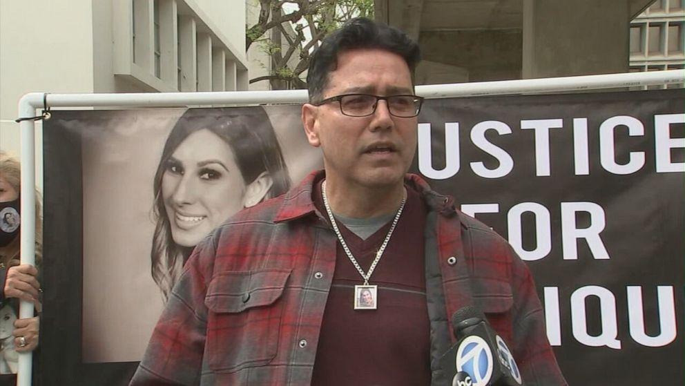 PHOTO: Richard Cartier, uncle of Monique Munoz, speaks outside Inglewood Juvenile Court in Inglewood, Calif., April 23, 2021.