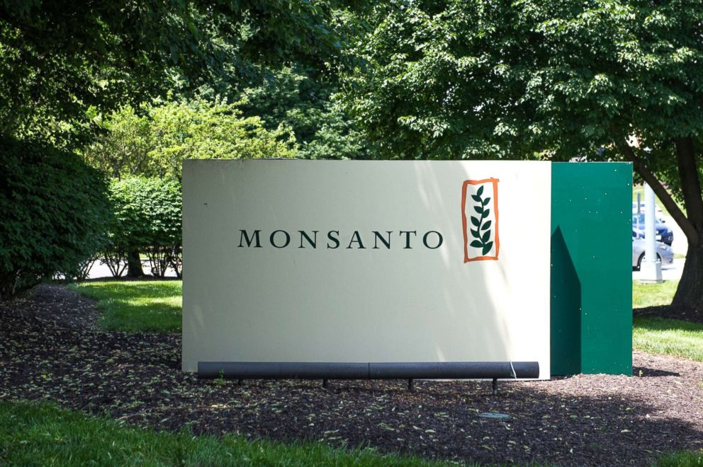 PHOTO: A sign is viewed on the campus of Monsanto Headquarters, May 23, 2016, in St. Louis, Missouri.