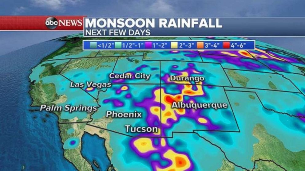 Heavy rain will fall in the Southwest over the next few days.