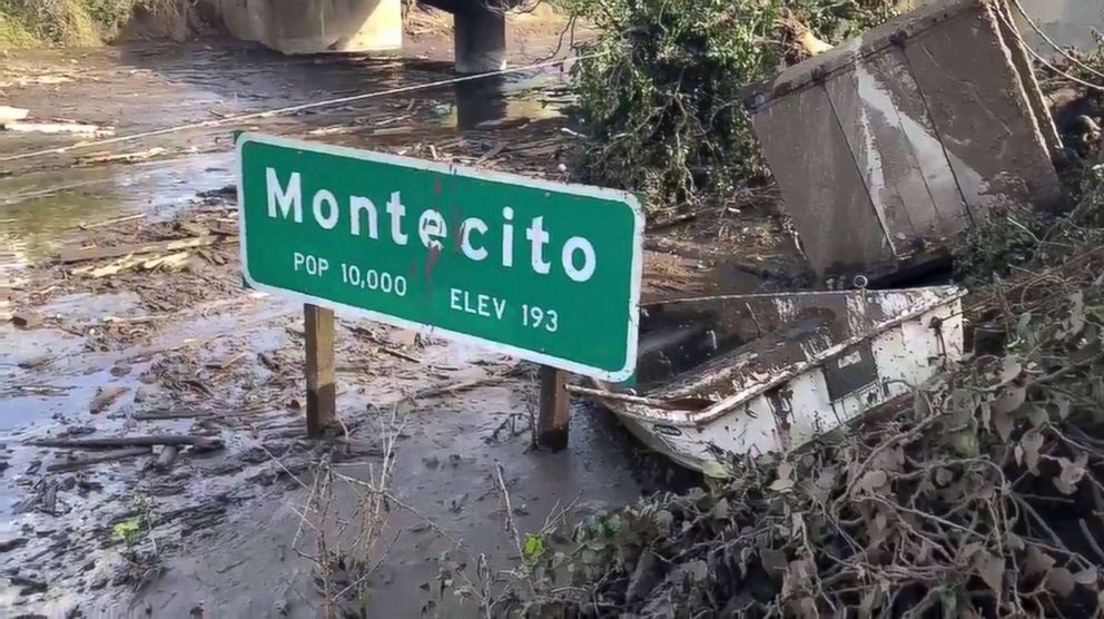 PHOTO: In this Jan. 15, 2018 image from video provided by the Santa Barbara County Fire Department, the U.S. 101 freeway remains underwater as clean-up crews work to clear the roads throughout Montecito, Calif.