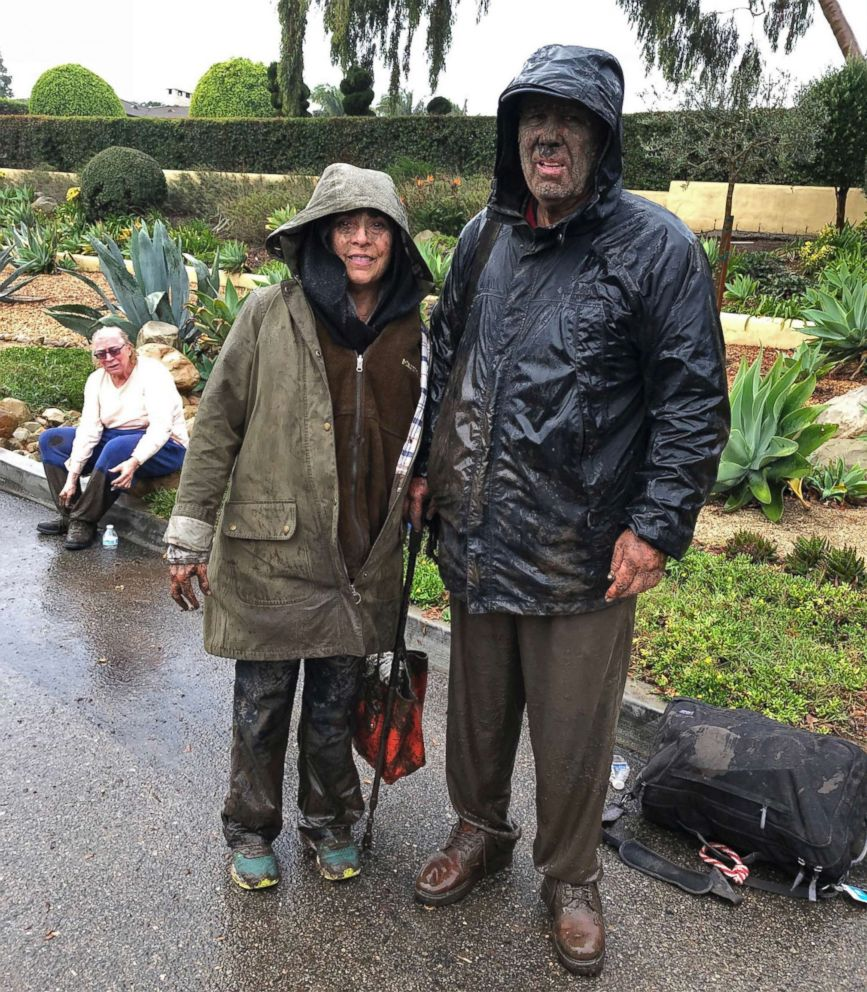 PHOTO: Mari and Hank Mitchel are shown after surviving a torrent of mud that flooded their Montecito, Calif., home while they were submerged inside it, Jan. 9, 2018.
