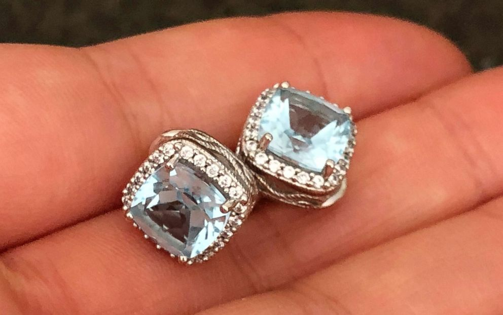 PHOTO: Erin Doherty found blue diamond earrings on the beach a couple days after the mudslides in Montecito, Calif. The earrings belonged to a woman killed in the mudslides and Doherty was able to give them to the womans daughter.