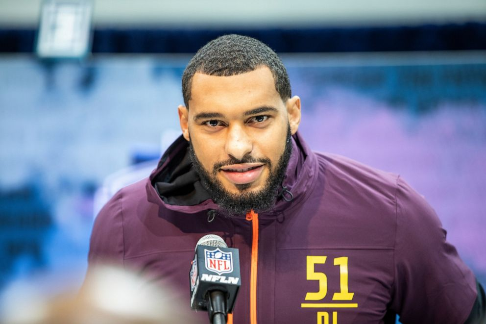 driving  street PHOTO: Mississippi State defensive lineman Montez Sweat talks to the media at the NFL Scouting Combine on Saturday, March 2 2019 in Indianapolis.