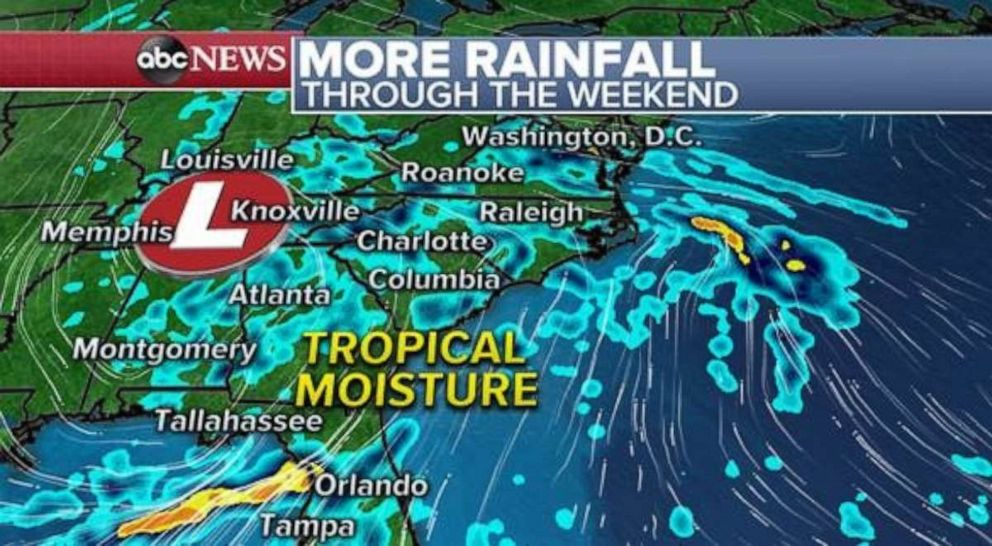 PHOTO: Tropical moisture will stay in place over the Southeast through the weekend.