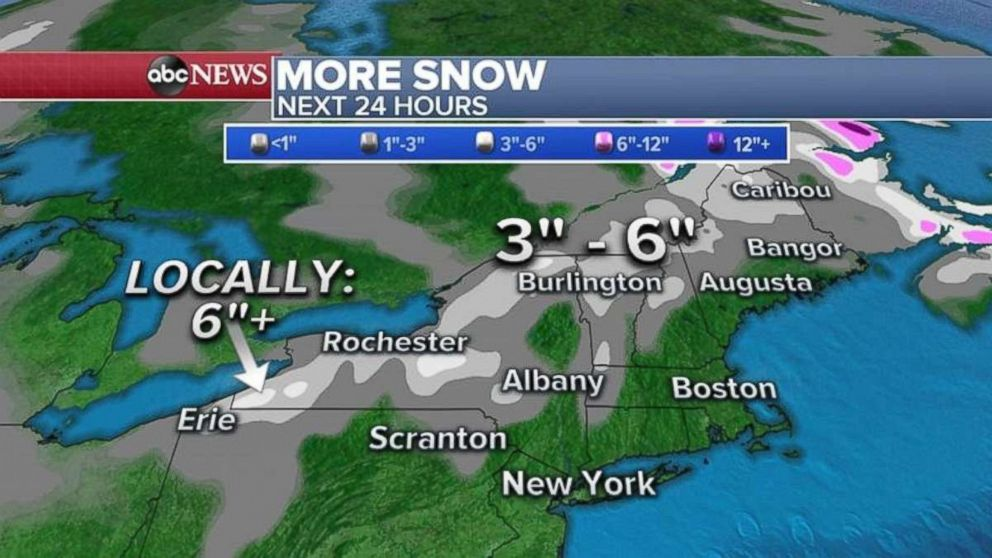 PHOTO: As much as 3 to 6 more inches of snow could fall in northern Vermont and New Hampshire.