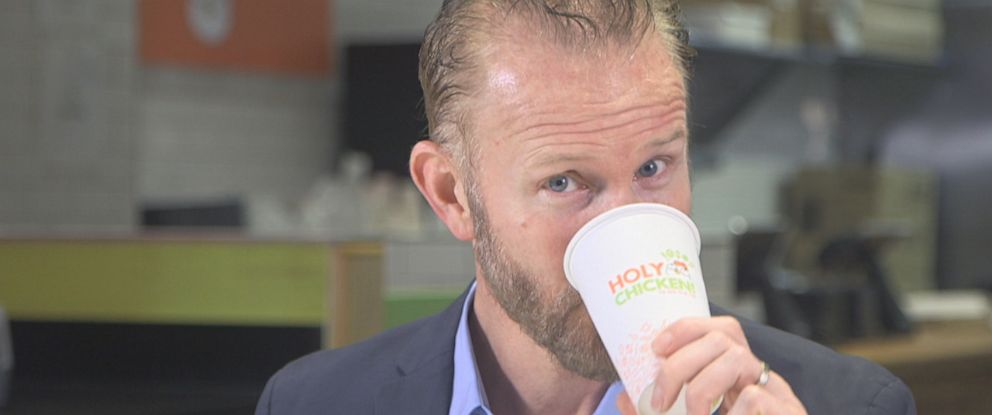 PHOTO: Morgan Spurlock is about to launch his latest venture – luring customers in with his version of the perfect chicken sandwich at his pop-up restaurant Holy Chicken. It's the last place anyone would expect to see the arch enemy of fast food.