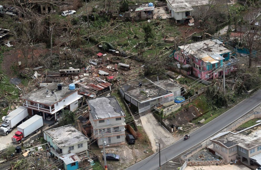 An aerial image showing the damage done to the Morovis area of Puerto Rico three days after hurricane Maria passed through the island on Sept. 20, 2017.