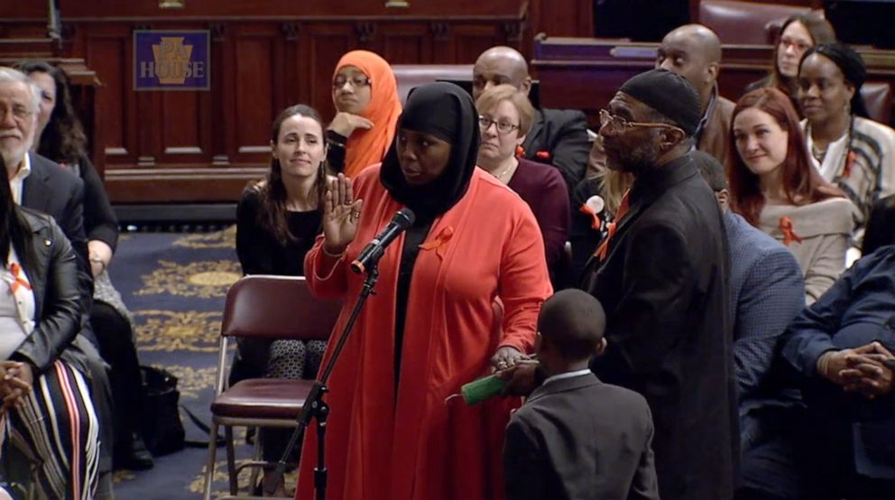 PHOTO: Rep. Movita Johnson-Harrell is sworn-in to office at the Pennsylvania House of Representatives, March 25, 2019. Johnson-Harrell became the first Muslim woman to be elected to the state House.
