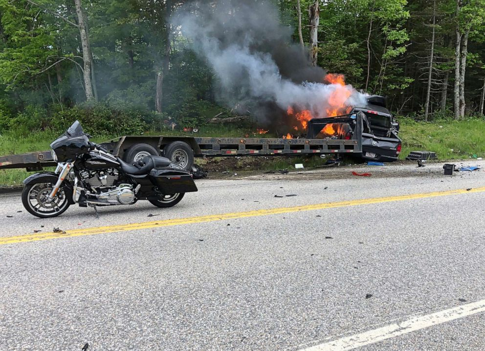 PHOTO: This photo provided by Miranda Thompson shows the scene where several motorcycles and a pickup truck collided on a rural highway on June 21, 2019, in Randolph, N.H