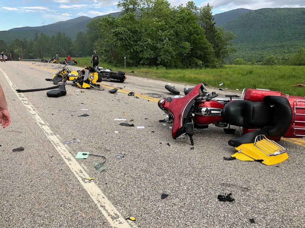 PHOTO: Seven people were killed when a truck plowed into a group of motorcycles on Route 2 in Randolph, N.H., on Friday, June 21, 2019.