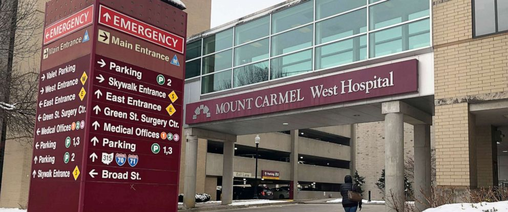 PHOTO: The main entrance to Mount Carmel West Hospital is shown in Columbus, Ohio.