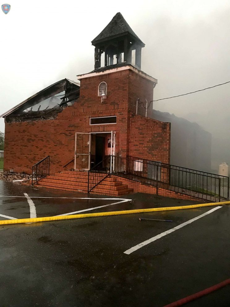 The Mount Pleasant Baptist Church in Opelousas, Louisiana, April 4, 2019, is pictured after a fire in this picture obtained from social media.