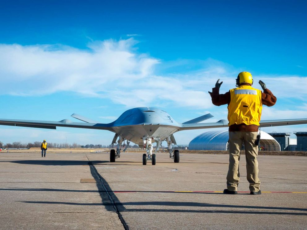 PHOTO: The MQ-25 is an unmanned combat aircraft system designed to provide refueling capability. An MQ-25 deck handling Demonstration in St. Louis, Jan. 26, 2018.