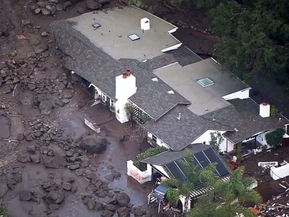 PHOTO: Mud surrounds a home in Montecito, Calif., Jan. 10 2018 after heavy rains cause mudslides the area.