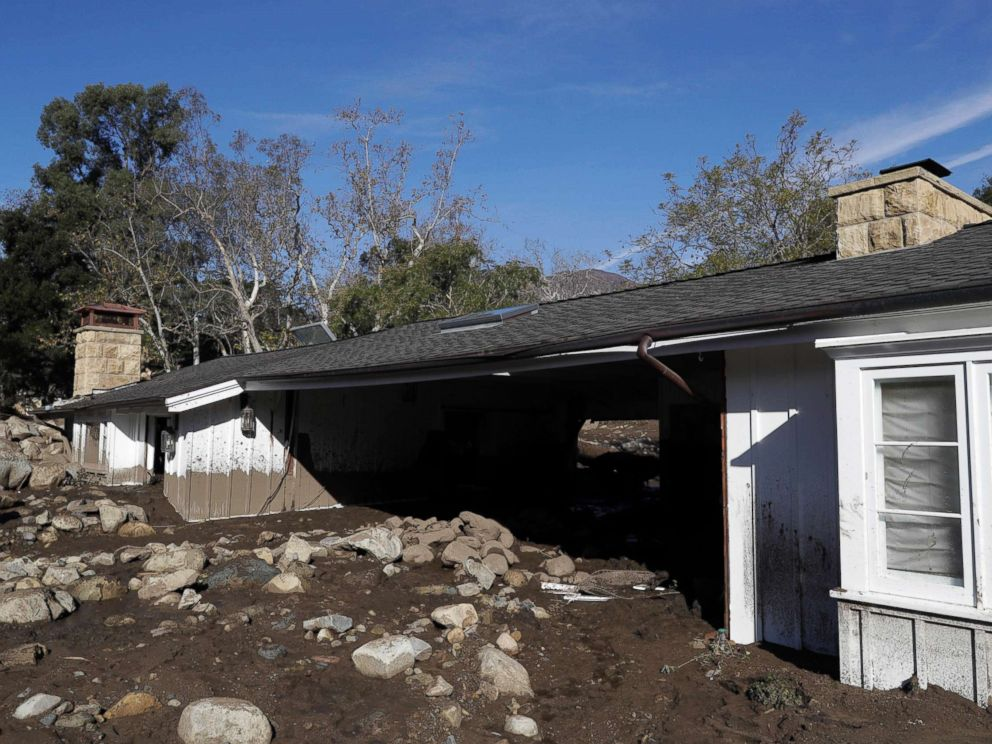 PHOTO: Mud and rocks are shown at a home damaged by storms in Montecito, Calif., Jan. 12, 2018. The mudslide, touched off by heavy rain, took many homeowners by surprise early Tuesday, despite warnings issued days in advance.