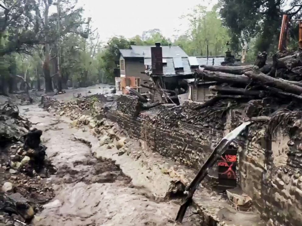 PHOTO: This photo from video provided by the Santa Barbara County Fire Department shows Montecito Creek flowing alongside debris left over from January mudslides in Montecito, Calif., March 21, 2017.