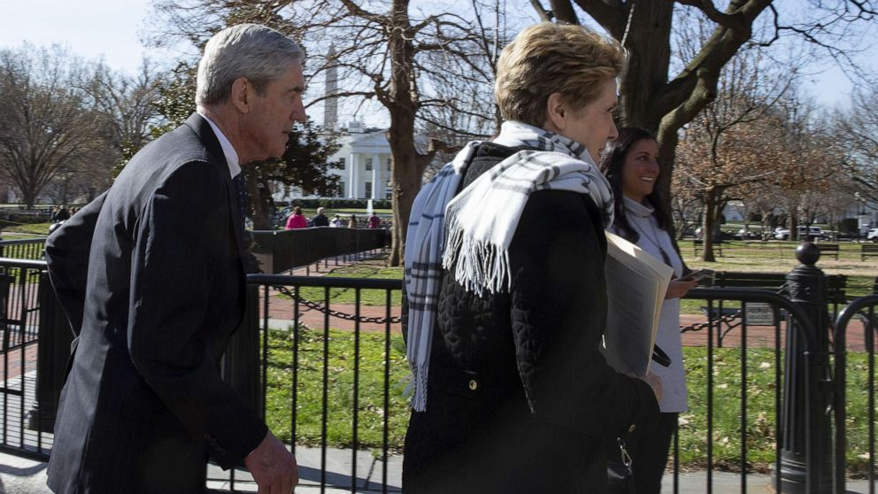 Special Counsel Robert Mueller walks with his wife Ann Mueller after attending church, March 24, 2019, in Washington, D.C.