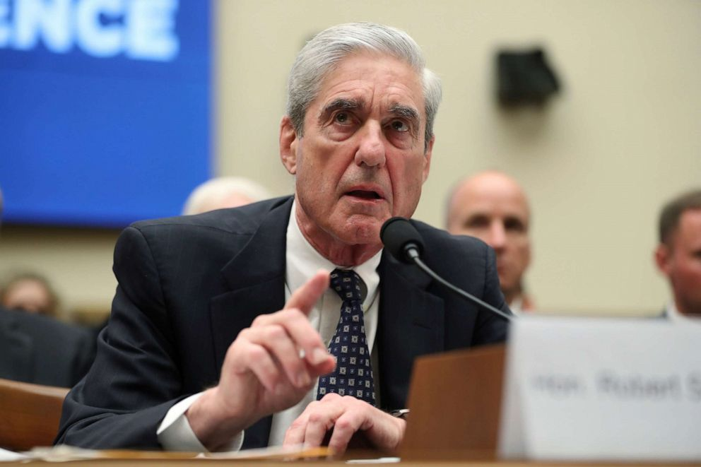 PHOTO: Former special counsel Robert Mueller testifies before the House Intelligence Committee hearing on his report on Russian election interference, on Capitol Hill, in Washington, July 24, 2019.