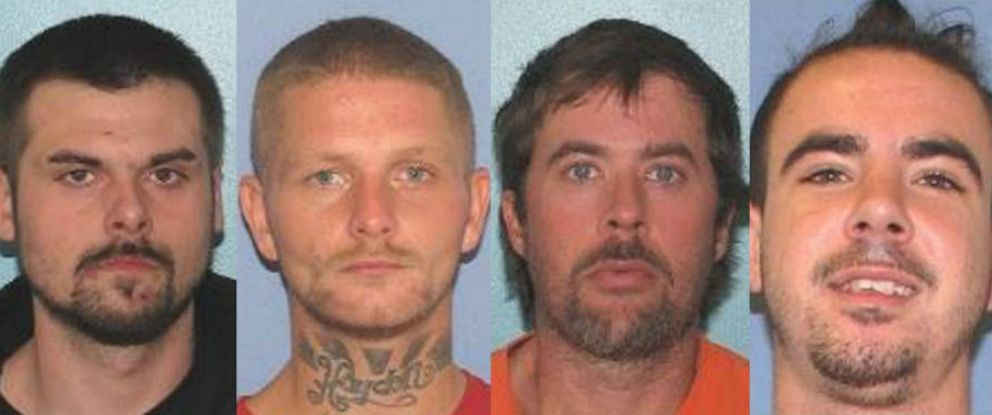 PHOTO: From left, Lawrence R. Lee III, Troy R. McDaniel Jr., Brynn K. Martin and Christopher M. Clemente escaped from the Gallia County Jail in Gallipolis, Ohio, early on the morning of Sept. 29, 2019.