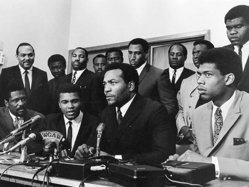 PHOTO: A group of top African American athletes from different sporting disciplines gather to give support and hear the boxer Muhammad Ali give his reasons for rejecting the draft during the Vietnam War in Cleveland, June 4, 1967.