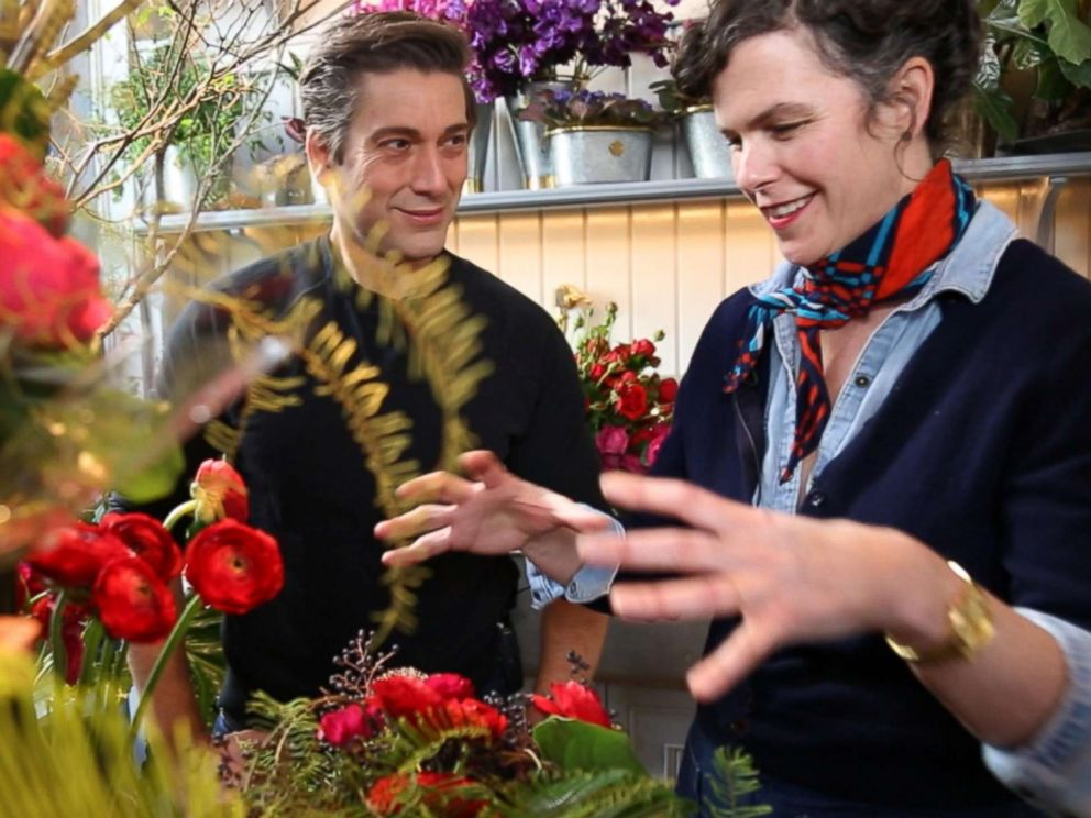 PHOTO: David Muir speaks with florist Emily Thompson in New York City. Thompson said recently that her shop supports US farmers and shes noticed that customers are starting to ask for local flowers as well.