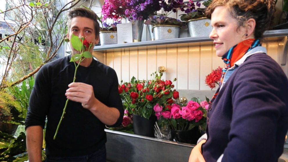 David Muir speaks with florist Emily Thompson in New York City. Thompson said recently that her shop supports US farmers and she's noticed that customers are starting to ask for local flowers as well.