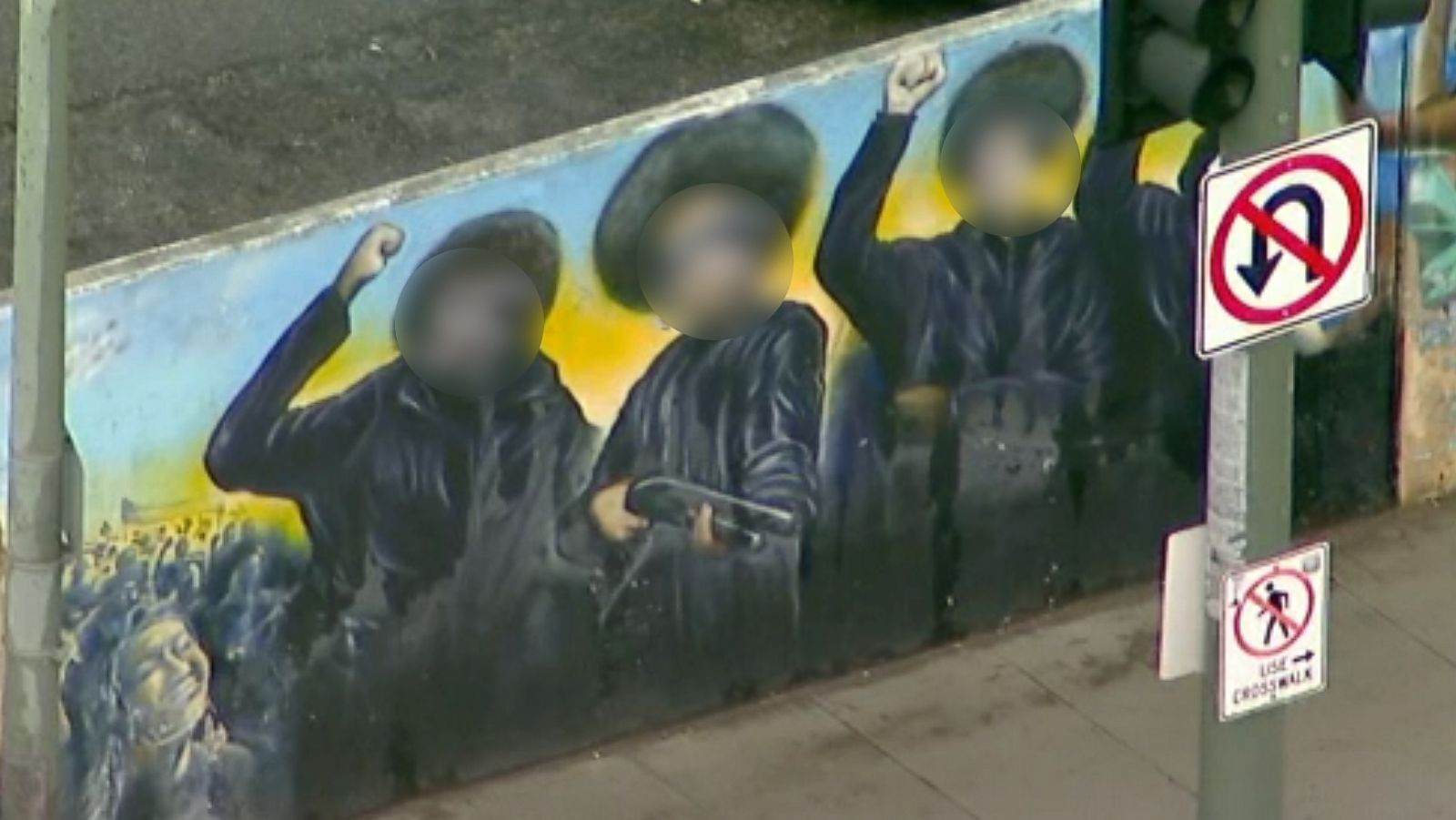 african american mural vandalized with swastikas los angeles police