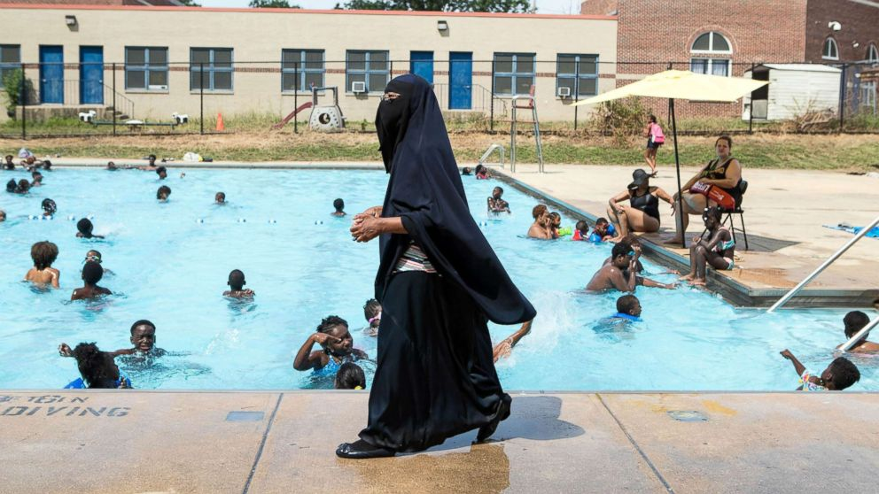 ... cease and desist letter. Director of Darul-Amaanah Academy Tahsiyn Ismaa'eel watches over swimmers from her school