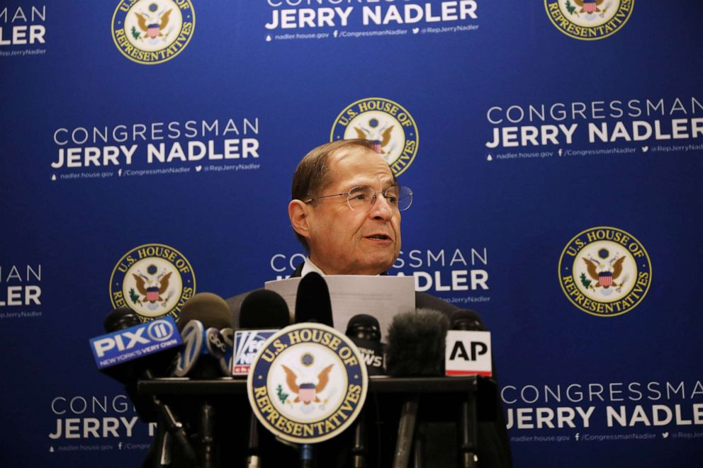 PHOTO:House Judiciary Committee Chairman Jerrold Nadler (D-NY) holds a news conference, April 18, 2019, in New York.