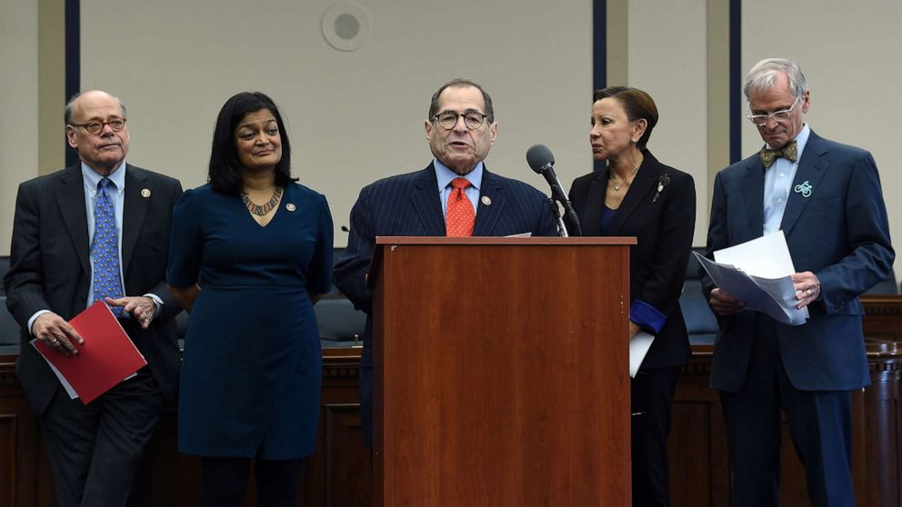 PHOTO: House Judiciary Committee Chairman Jerrold Nadler speaks during a news conference on Capitol Hill to highlight the MORE Act (Marijuana Opportunity Reinvestment and Expungement Act) legislation in Washington, DC, Nov. 19, 2019.