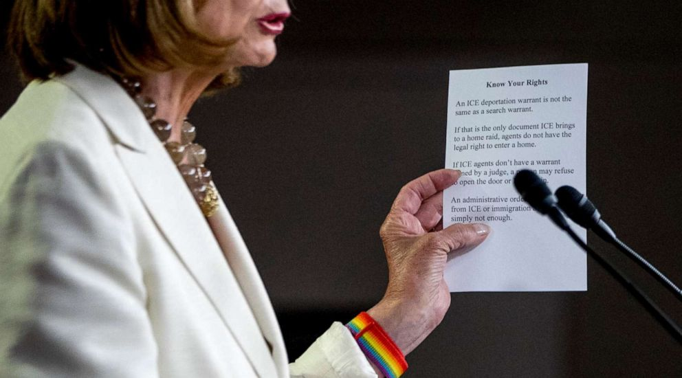 PHOTO: House Speaker Nancy Pelosi of Calif. reads from a paper titled Know Your Rights regarding ICE agents attempting to perform raids as she meets with reporters on Capitol Hill in Washington, July 11, 2019.