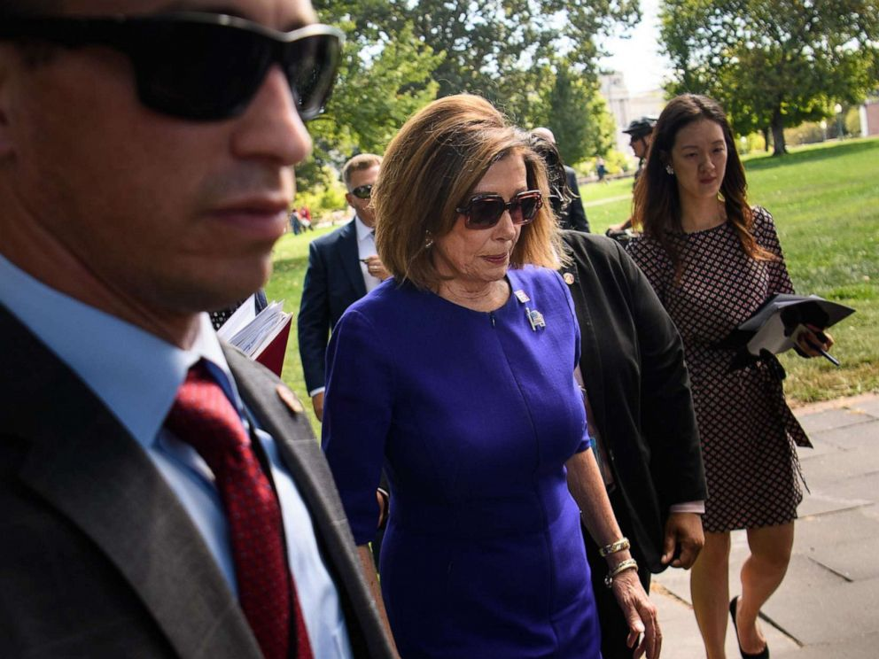 PHOTO: House Speaker Nancy Pelosi departs after speaking at a union rally outside of the U.S. Capitol in Washington, Sept. 24, 2019.