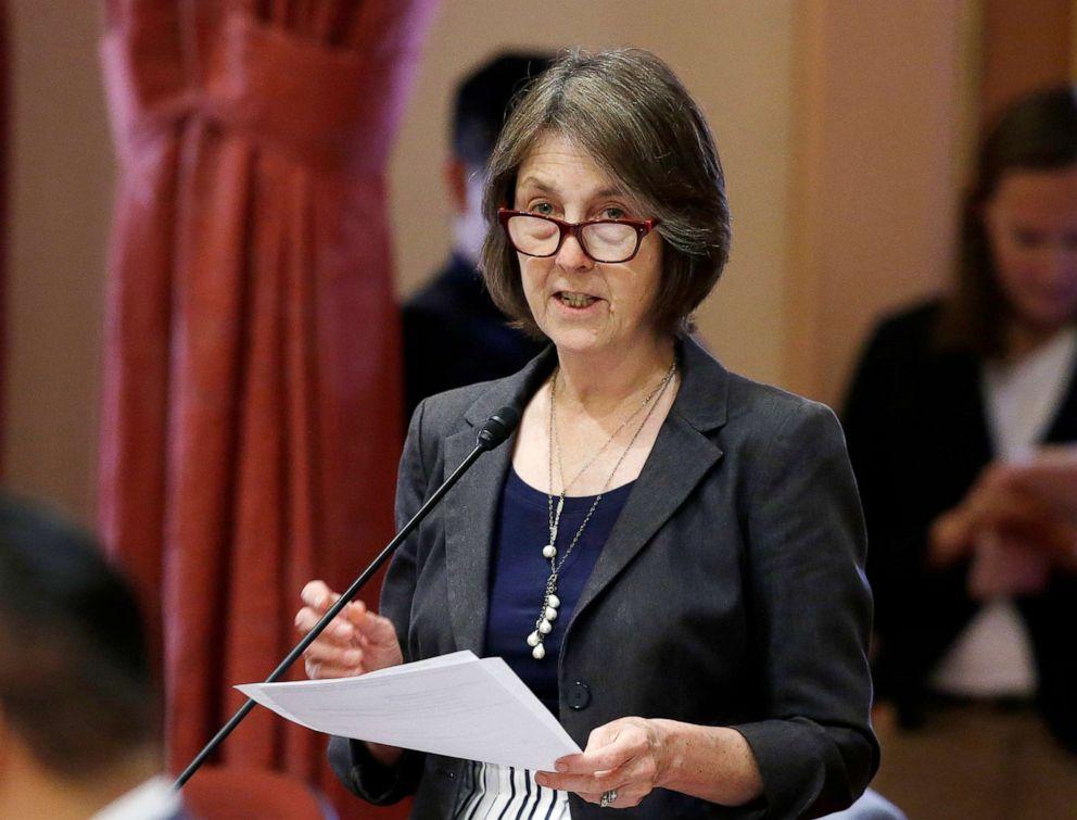 PHOTO: In this May 30, 2018, file photo, state Sen. Nancy Skinner speaks on the floor of the Senate in Sacramento, Calif.