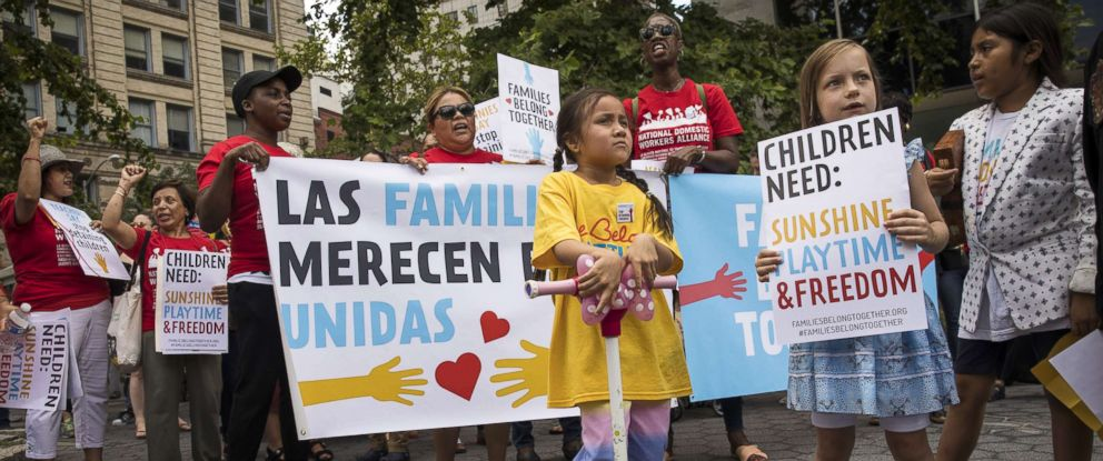 PHOTO: Activists, including childcare providers, parents and their children, protest against the recent family detention and separation policies for migrants near the offices of Immigration and Customs Enforcement (ICE), July 18, 2018 in New York City.