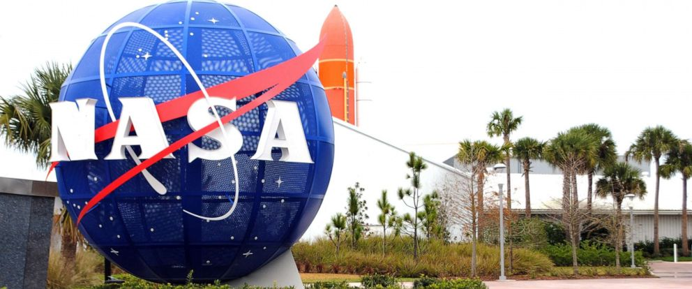 PHOTO: The NASA logo stands at the Kennedy Space Center in Cape Canaveral Air Force Station in Fla., Jan. 21, 2015.
