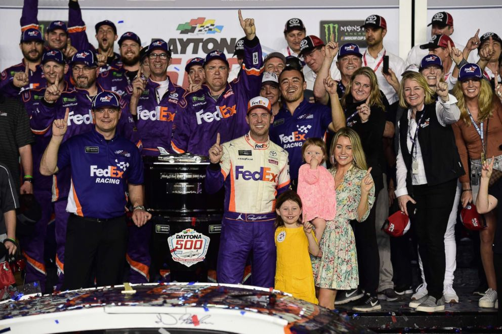 PHOTO: Denny Hamlin, driver of the #11 FedEx Express Toyota, celebrates in victory lane after winning the Monster Energy NASCAR Cup Series 61st Annual Daytona 500 at Daytona International Speedway, Feb. 17, 2019, in Daytona Beach, Fla.