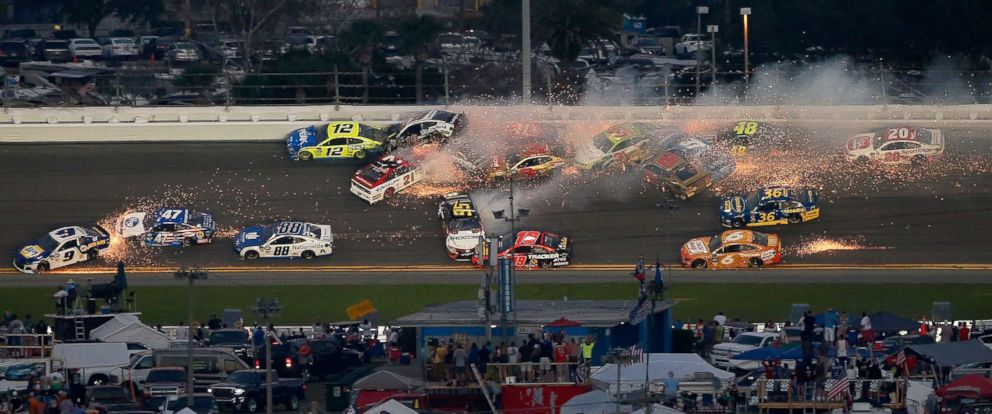 PHOTO: Paul Menard, driver of the #21 Motorcraft/Quick Lane Tire & Auto Center Ford, wrecks during the Monster Energy NASCAR Cup Series 61st Annual Daytona 500 at Daytona International Speedway, Feb. 17, 201, in Daytona Beach, Fla.