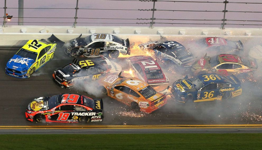 PHOTO: Multiple cars crash in turn 3 during the NASCAR Daytona 500 auto race at Daytona International Speedway, Feb. 17, 2019, in Daytona Beach, Fla.