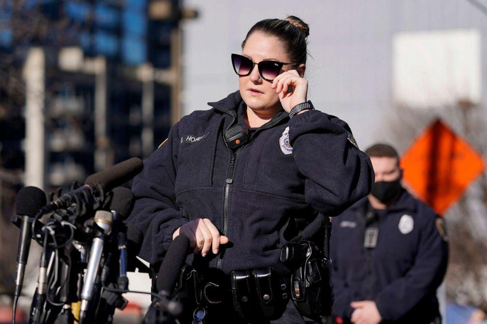 PHOTO: Nashville Police officer Brenna Hosey wipes her eye as she speaks at a news conference, Dec. 27, 2020, in Nashville, Tenn.