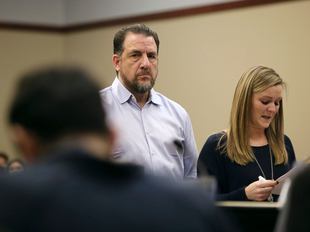 PHOTO: Thomas Brennan, a mentor and coach to former athlete Gwen Anderson, looks at Larry Nassar while Anderson speaks of Nassars sexual assaults during victim impact statements regarding former sports medicine doctor Larry Nassar, Jan. 17, 2018.
