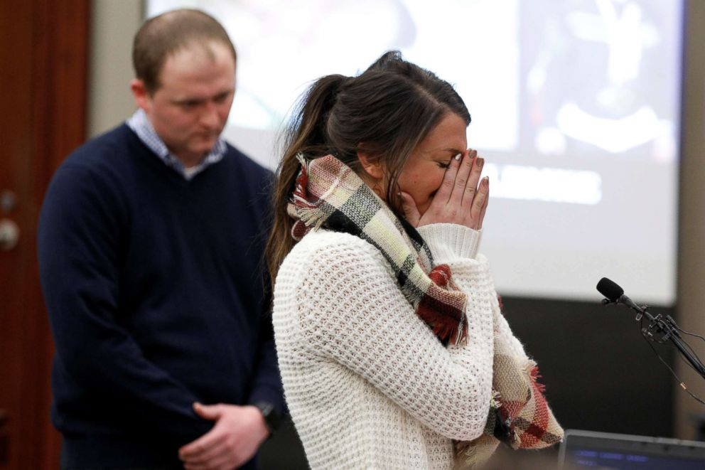PHOTO: Victim and gymnast Lindsey Lemke pauses as she speaks during a sentencing hearing for Larry Nassar in Lansing, Mich., Jan. 18, 2018.