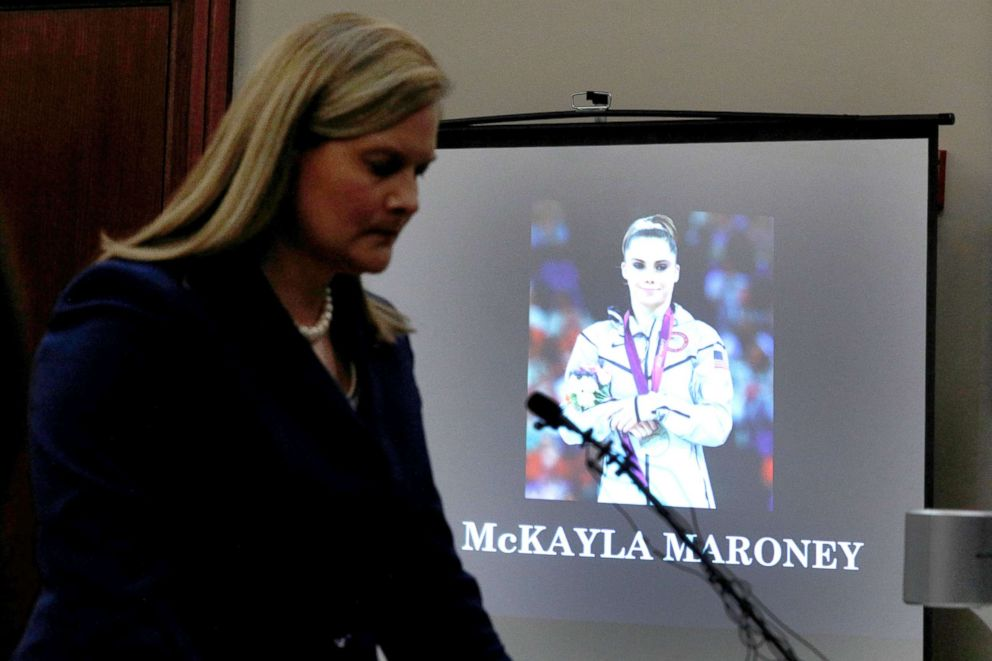PHOTO: Prosecutor Angela Povilaitis reads a statement for victim and gymnast McKayla Maroney during a sentencing hearing for Larry Nassar in Lansing, Mich., Jan. 18, 2018.