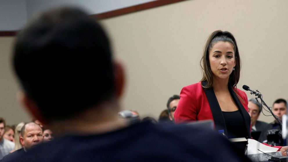 Olympic gold medalist Aly Raisman speaks at the sentencing hearing for Larry Nassar in Lansing, Mich., Jan. 19, 2018.