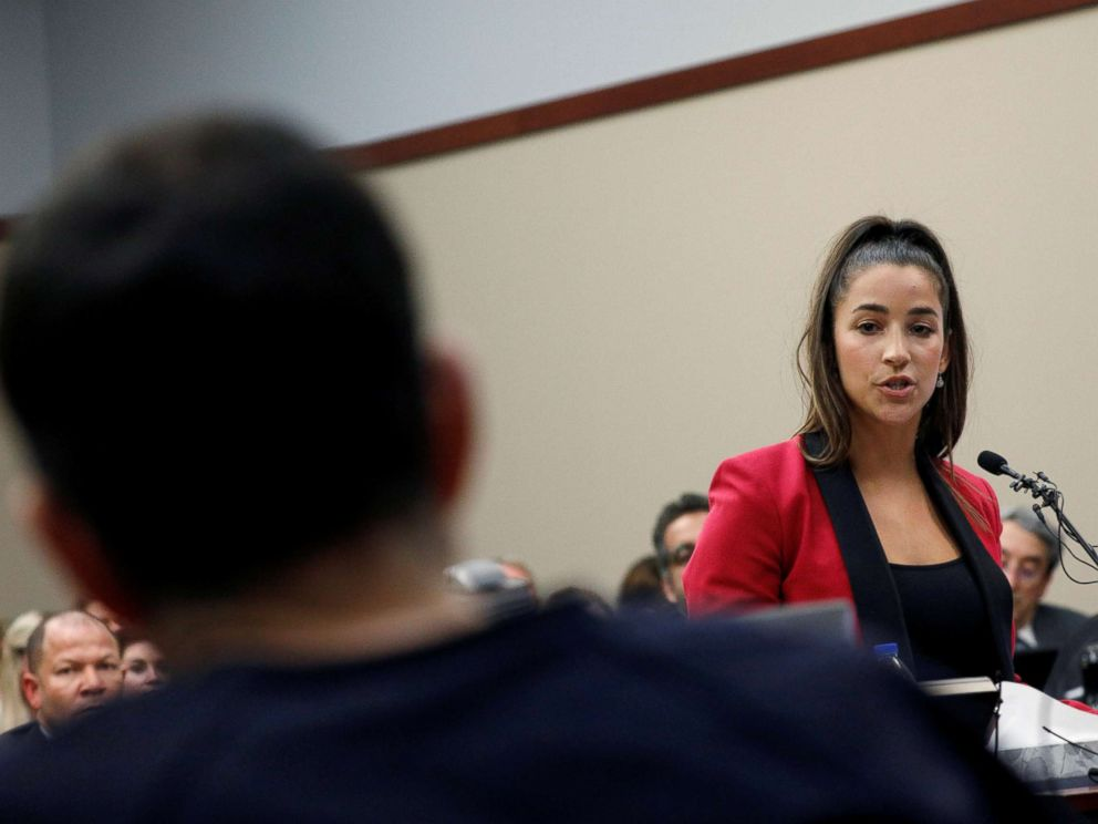PHOTO: Olympic gold medalist Aly Raisman speaks at the sentencing hearing for Larry Nassar in Lansing, Mich., Jan. 19, 2018.