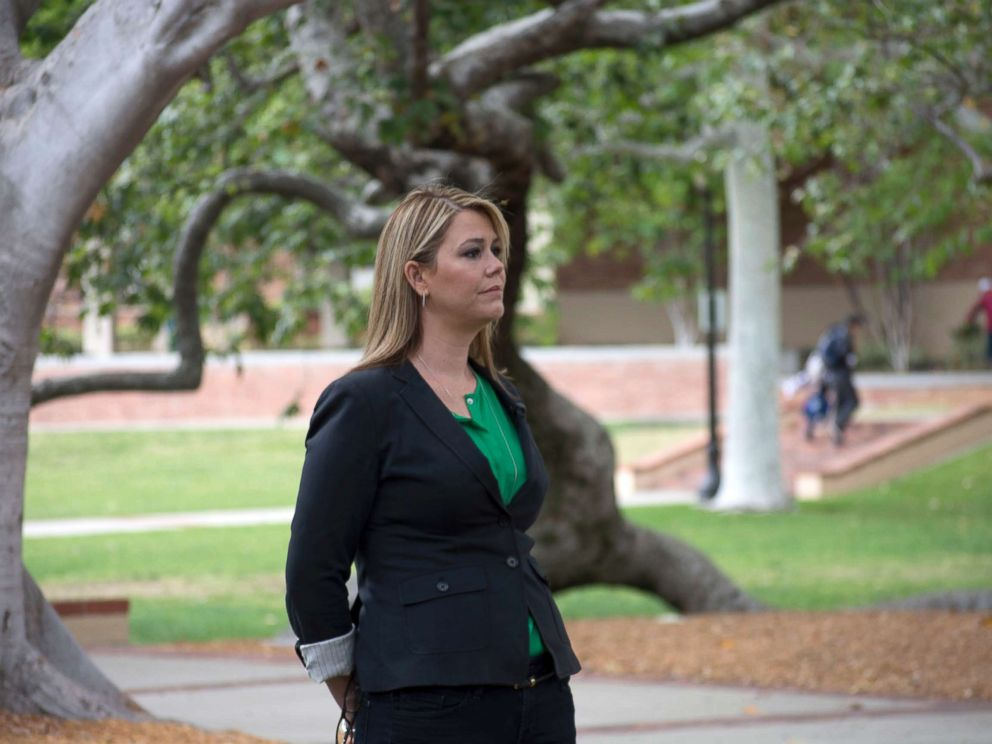 PHOTO: Natalia Abrams, founder of Student Debt Crisis, stands on the campus of her alma mater, UCLA.