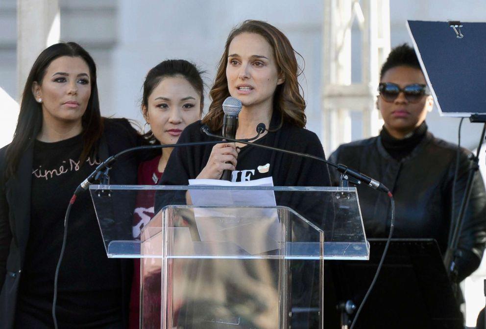 PHOTO: Natalie Portman speak during the Womens March Los Angeles 2018 on Jan. 20, 2018, in Los Angeles.